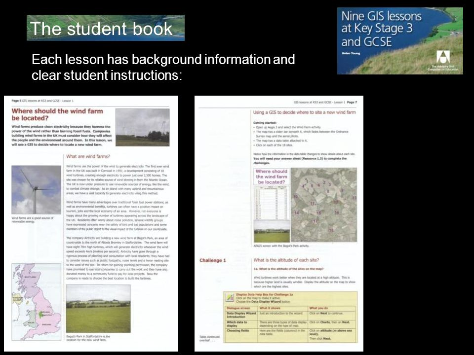 The student book Each lesson has background information and clear student instructions: