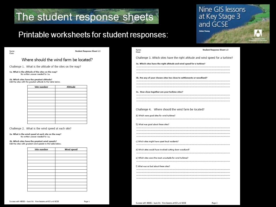 The student response sheets Printable worksheets for student responses: