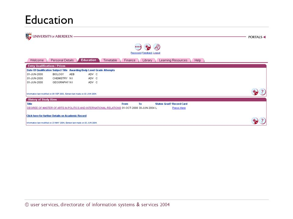 © user services, directorate of information systems & services 2004 Education