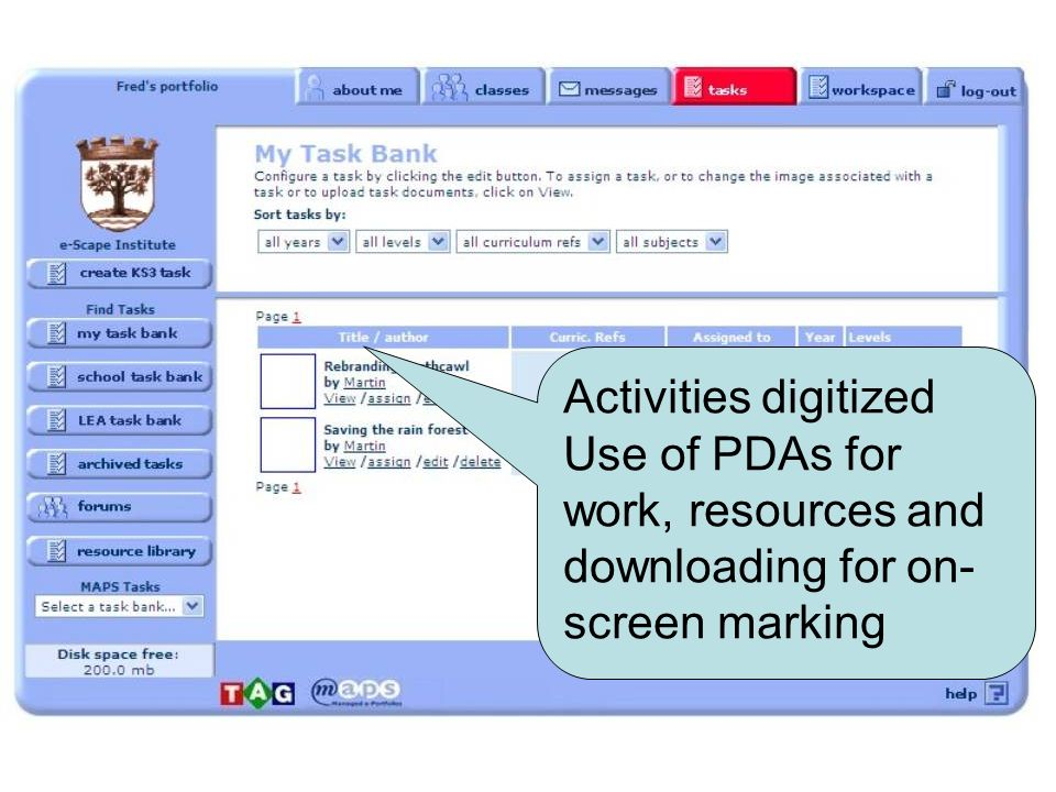 Activities digitized Use of PDAs for work, resources and downloading for on- screen marking