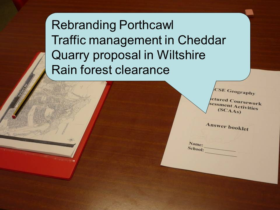 Rebranding Porthcawl Traffic management in Cheddar Quarry proposal in Wiltshire Rain forest clearance