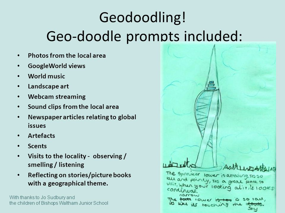 Geodoodling! Geo-doodle prompts included: Photos from the local area GoogleWorld views World music Landscape art Webcam streaming Sound clips from the