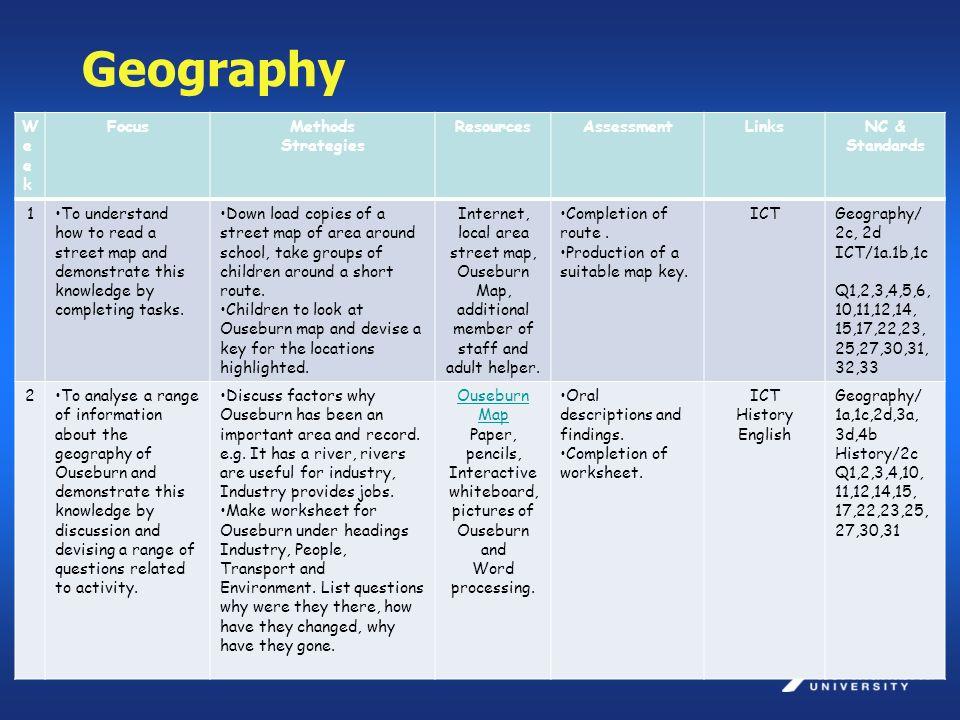 Geography WeekWeek FocusMethods Strategies ResourcesAssessmentLinksNC & Standards 1To understand how to read a street map and demonstrate this knowled