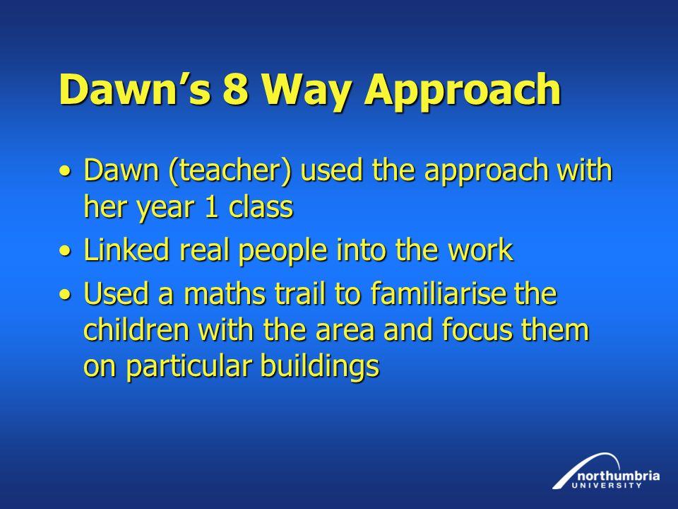 Dawns 8 Way Approach Dawn (teacher) used the approach with her year 1 classDawn (teacher) used the approach with her year 1 class Linked real people i