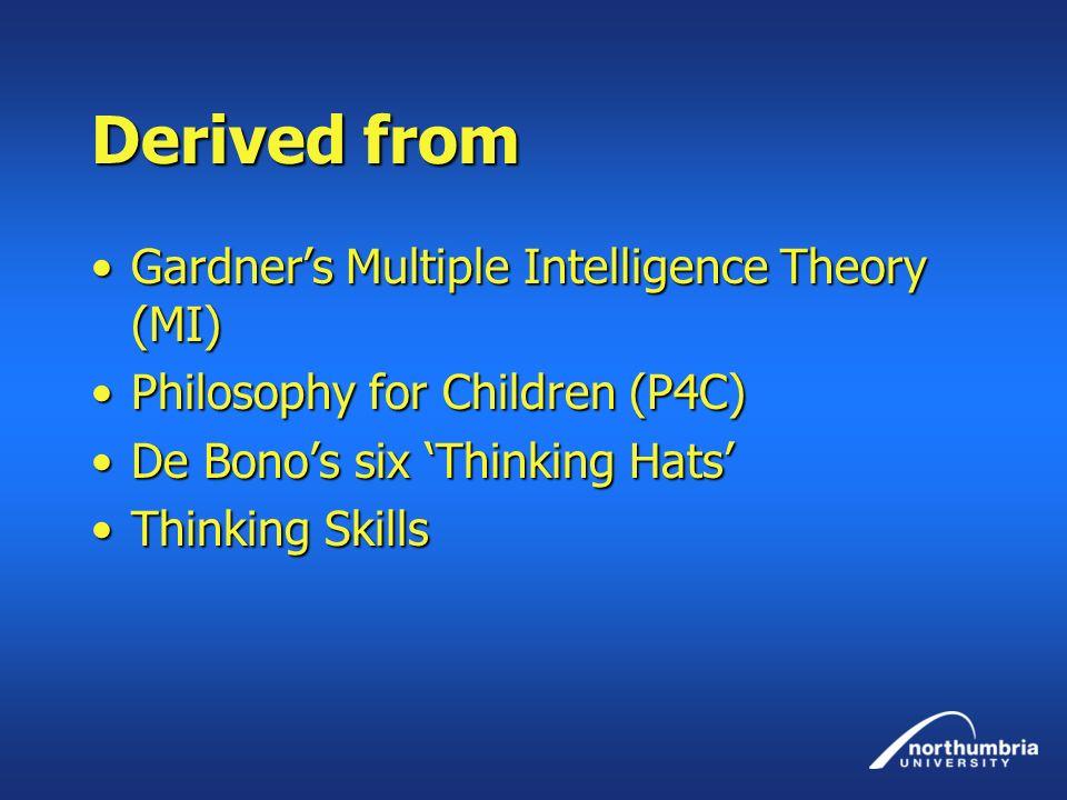 Derived from Gardners Multiple Intelligence Theory (MI)Gardners Multiple Intelligence Theory (MI) Philosophy for Children (P4C)Philosophy for Children
