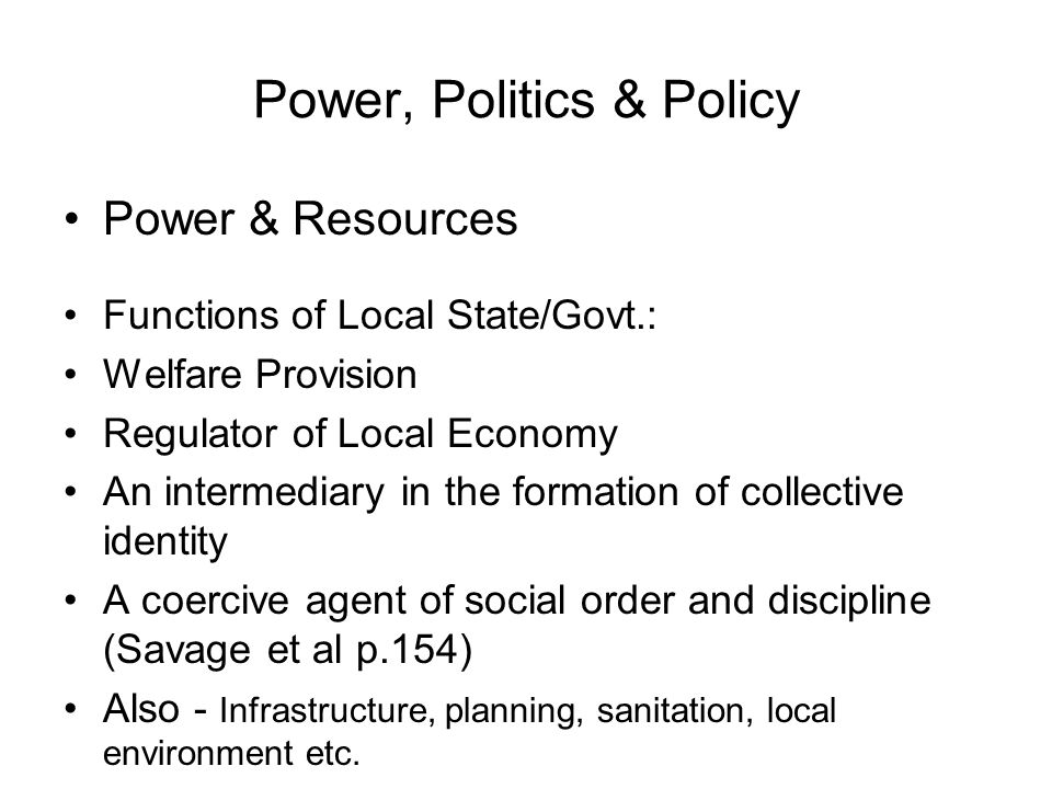 The Structure of Urban Politics Politicians Professionals & Bureaucrats The Parapolitical Structure: Pressure groups Business organisations Labour & trade union organisations Conservation societies and other special interest groups (Nimby) Homeowner groups and tenants associations Urban Social Movements