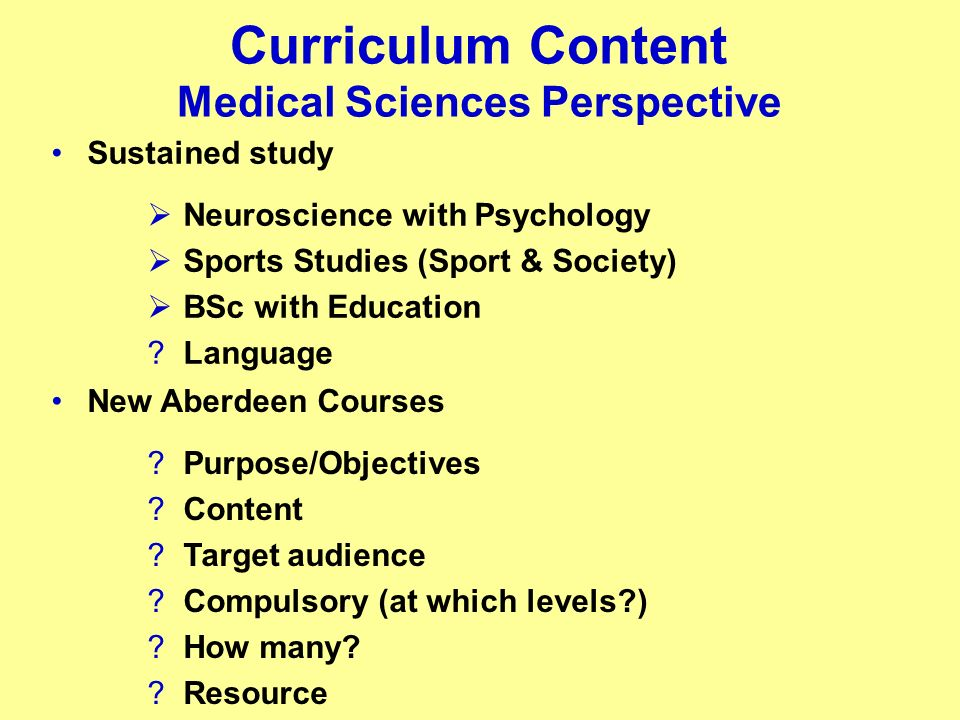 Curriculum Content Medical Sciences Perspective Sustained study Neuroscience with Psychology Sports Studies (Sport & Society) BSc with Education ?Lang