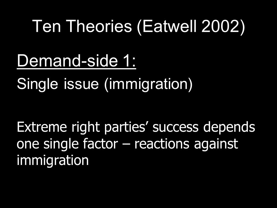 Ten Theories (Eatwell 2002) Demand-side 1: Single issue (immigration) Extreme right parties success depends one single factor – reactions against immigration