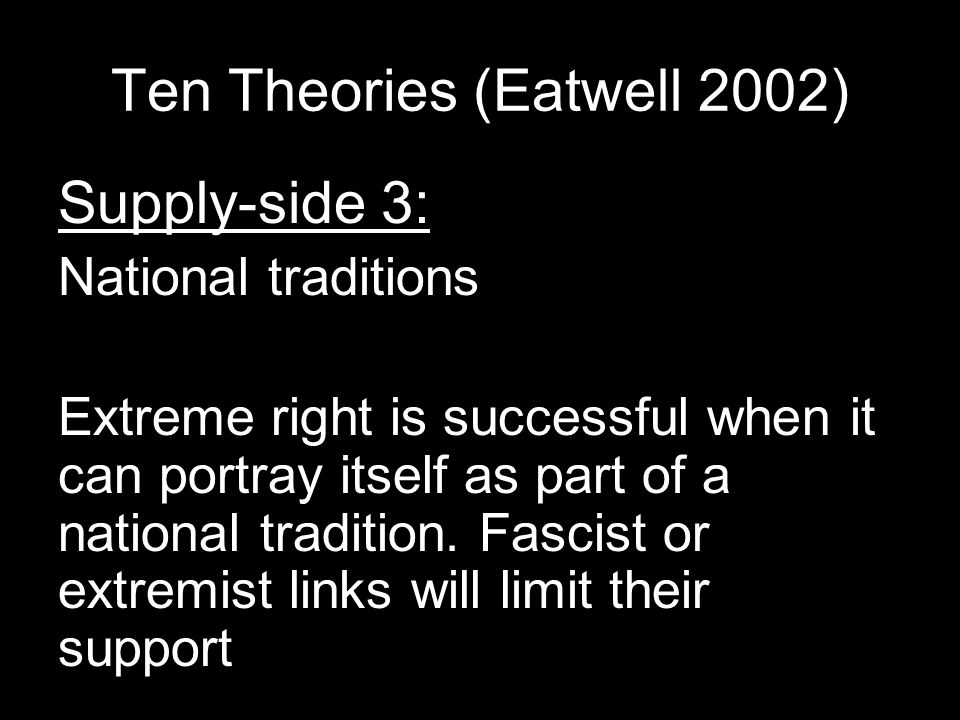 Ten Theories (Eatwell 2002) Supply-side 3: National traditions Extreme right is successful when it can portray itself as part of a national tradition.