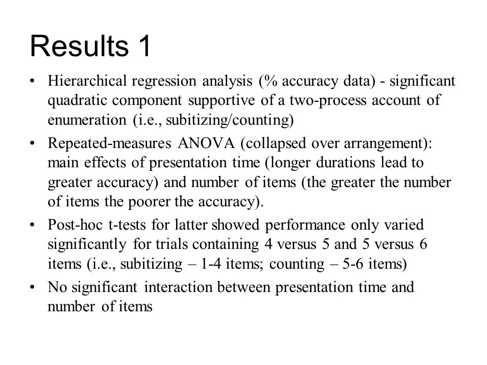 Hierarchical regression analysis (% accuracy data) - significant quadratic component supportive of a two-process account of enumeration (i.e., subitiz