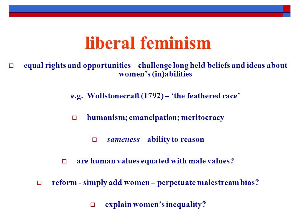 liberal feminism equal rights and opportunities – challenge long held beliefs and ideas about womens (in)abilities e.g.