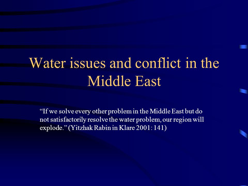 Attempted Agreements in Palestinian-Israeli Water Conflict Johnston Plan 1953 The signing of the Declaration of Principles September 1993 Israeli-Jordanian Peace Treaty of October 1994 Oslo Accords