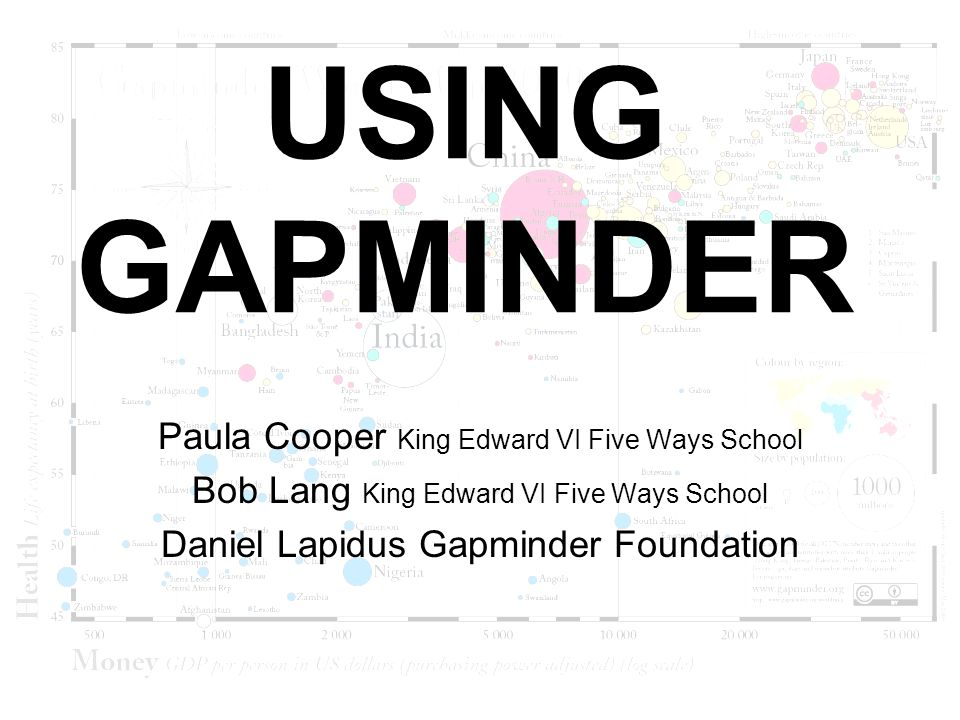 USING GAPMINDER Paula Cooper King Edward VI Five Ways School Bob Lang King Edward VI Five Ways School Daniel Lapidus Gapminder Foundation