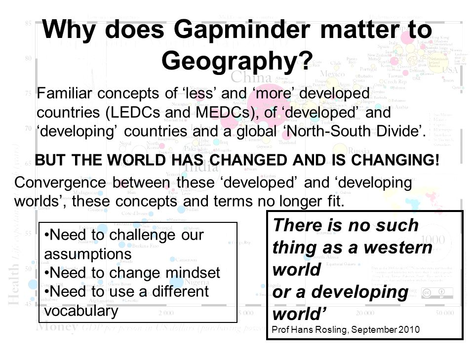 Why does Gapminder matter to Geography. BUT THE WORLD HAS CHANGED AND IS CHANGING.