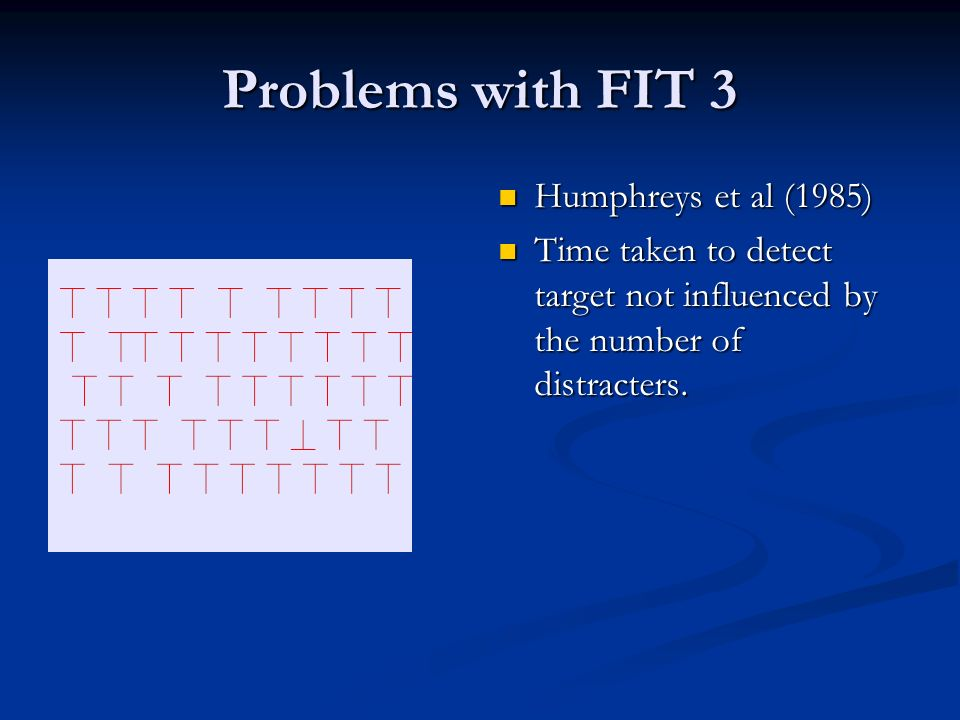 Problems with FIT 3 Humphreys et al (1985) Time taken to detect target not influenced by the number of distracters.