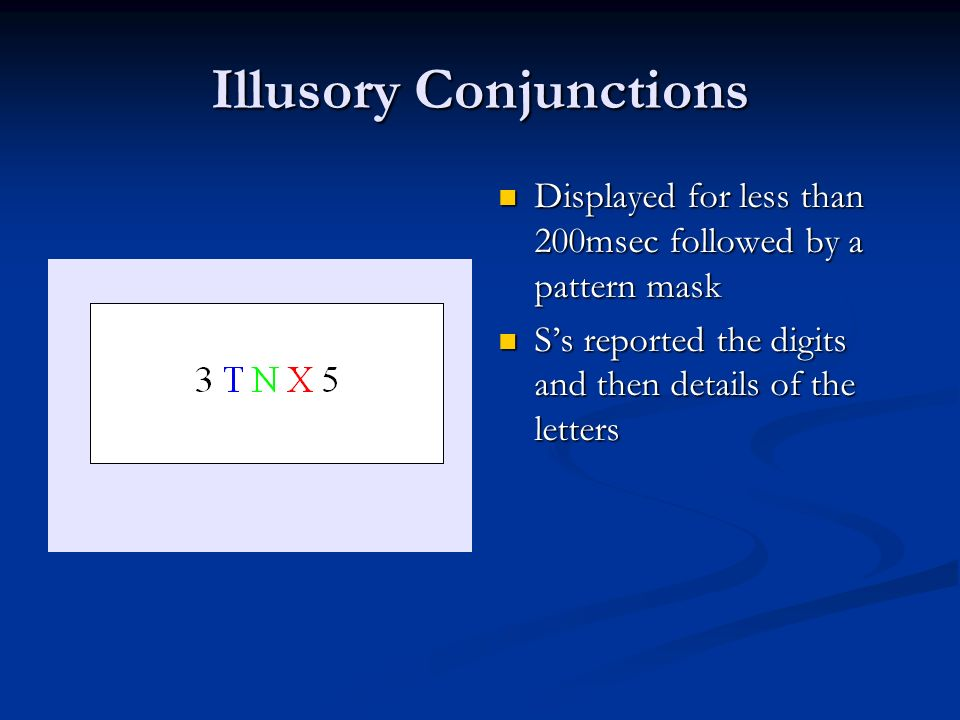Illusory Conjunctions Displayed for less than 200msec followed by a pattern mask Ss reported the digits and then details of the letters
