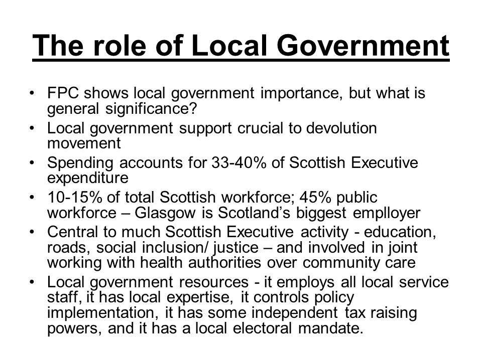 The role of Local Government FPC shows local government importance, but what is general significance.