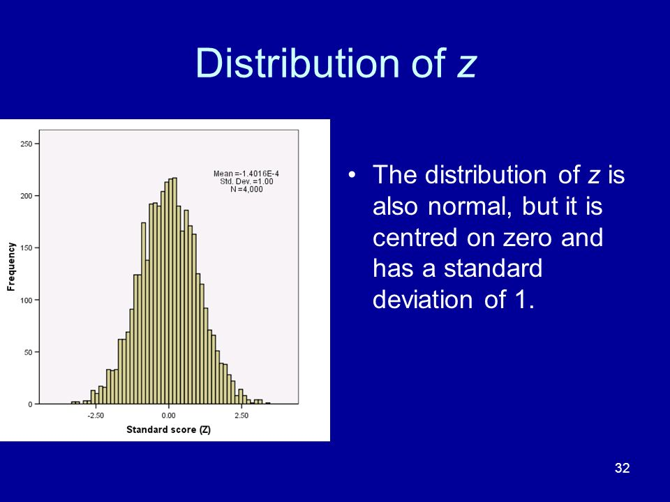 32 Distribution of z The distribution of z is also normal, but it is centred on zero and has a standard deviation of 1.