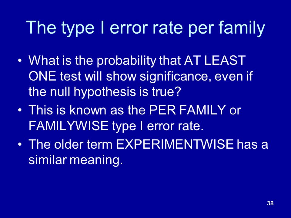 38 The type I error rate per family What is the probability that AT LEAST ONE test will show significance, even if the null hypothesis is true? This i