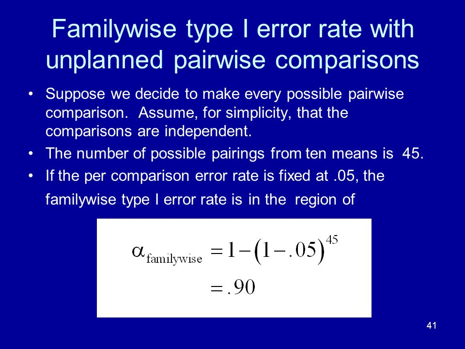 41 Familywise type I error rate with unplanned pairwise comparisons Suppose we decide to make every possible pairwise comparison. Assume, for simplici