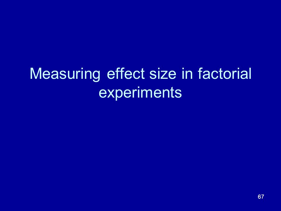 67 Measuring effect size in factorial experiments