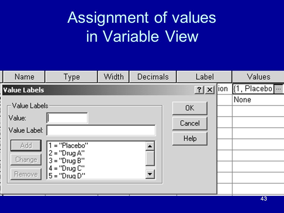 44 Variable View completed Note the setting of Decimals so that only whole numbers will appear in Data View.