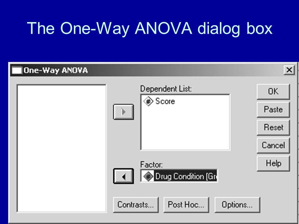 47 More statistics By clicking Options, you can order more statistics than would normally appear in the ANOVA output.