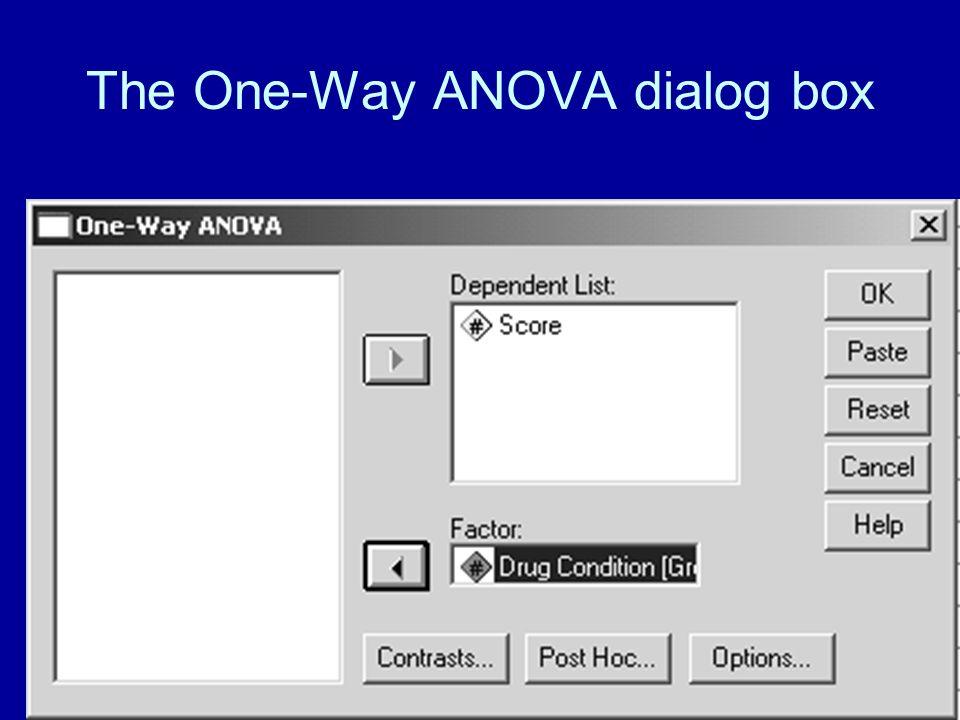 46 The One-Way ANOVA dialog box