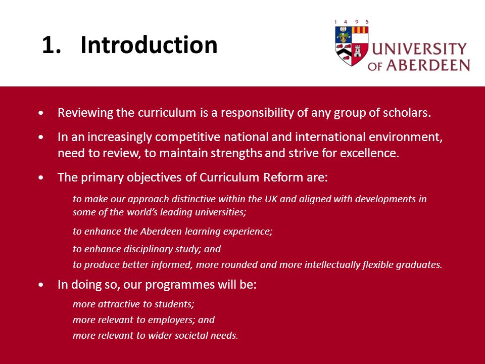 1. Introduction Reviewing the curriculum is a responsibility of any group of scholars. In an increasingly competitive national and international envir