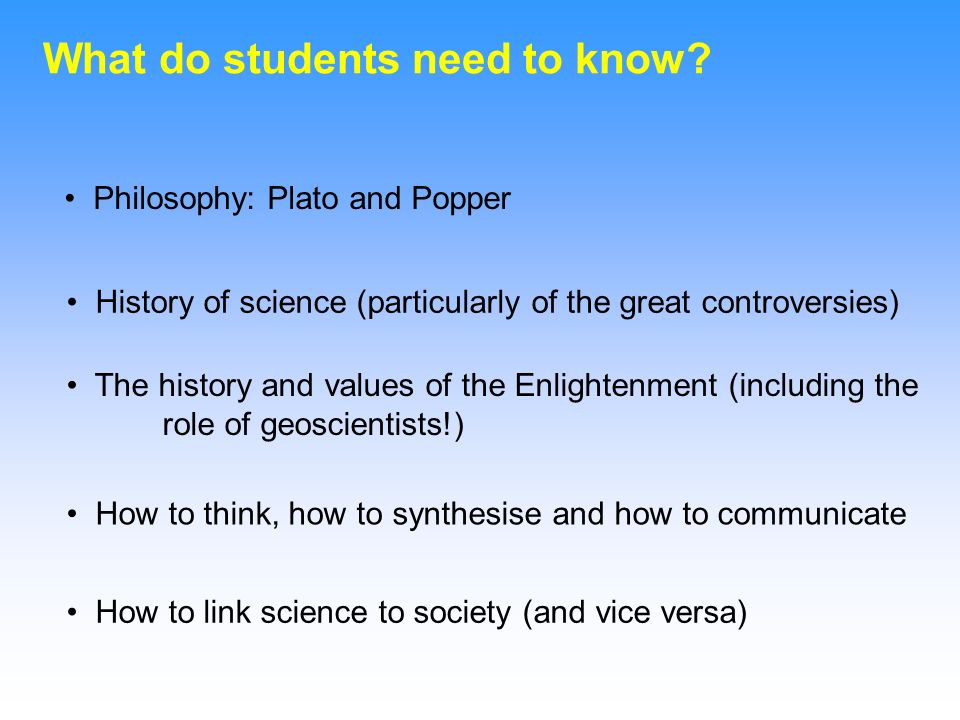 What do students need to know.