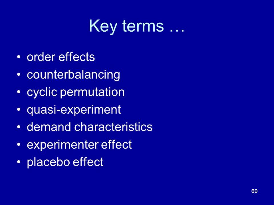 60 Key terms … order effects counterbalancing cyclic permutation quasi-experiment demand characteristics experimenter effect placebo effect