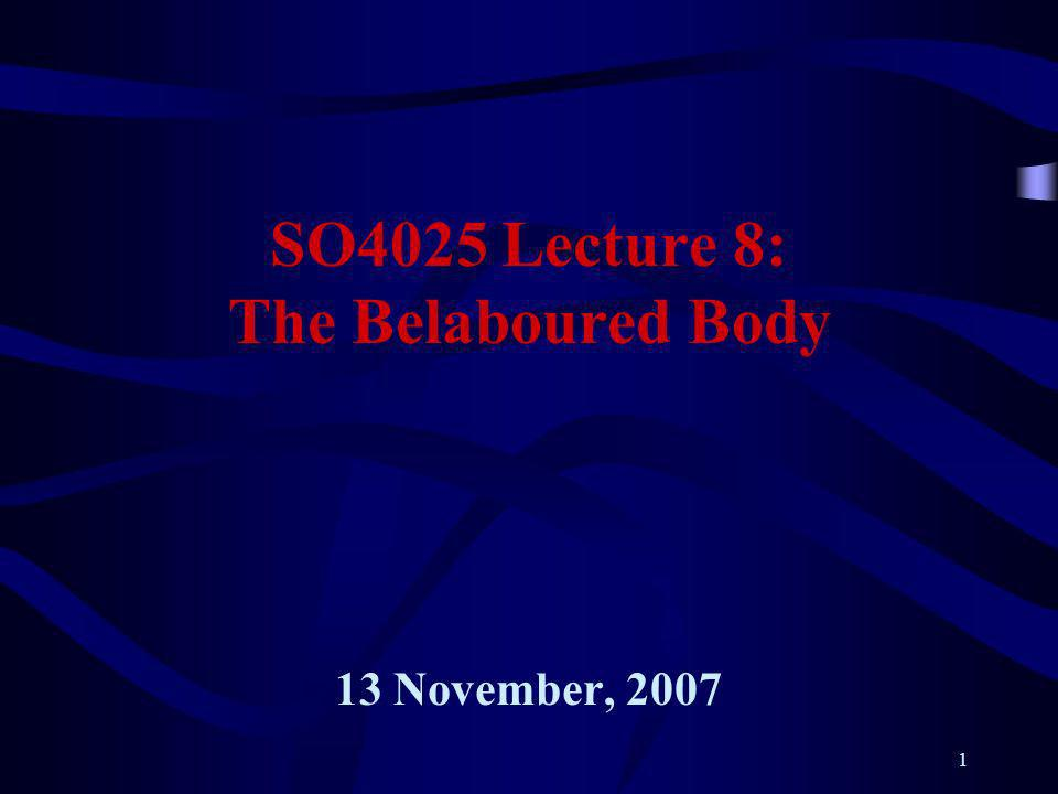 1 SO4025 Lecture 8: The Belaboured Body 13 November, 2007