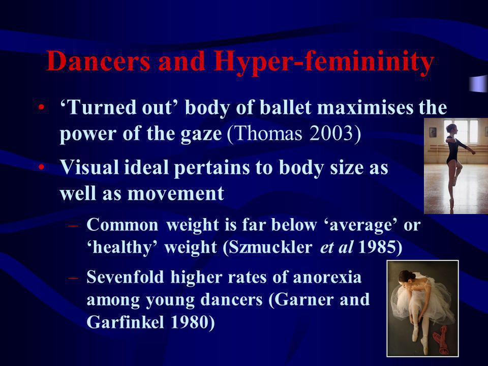 5 Dancers and Hyper-femininity Turned out body of ballet maximises the power of the gaze (Thomas 2003) Visual ideal pertains to body size as well as movement –Common weight is far below average or healthy weight (Szmuckler et al 1985) –Sevenfold higher rates of anorexia among young dancers (Garner and Garfinkel 1980)