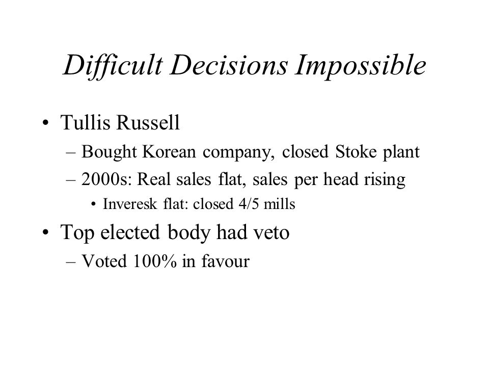 Difficult Decisions Impossible Tullis Russell –Bought Korean company, closed Stoke plant –2000s: Real sales flat, sales per head rising Inveresk flat: