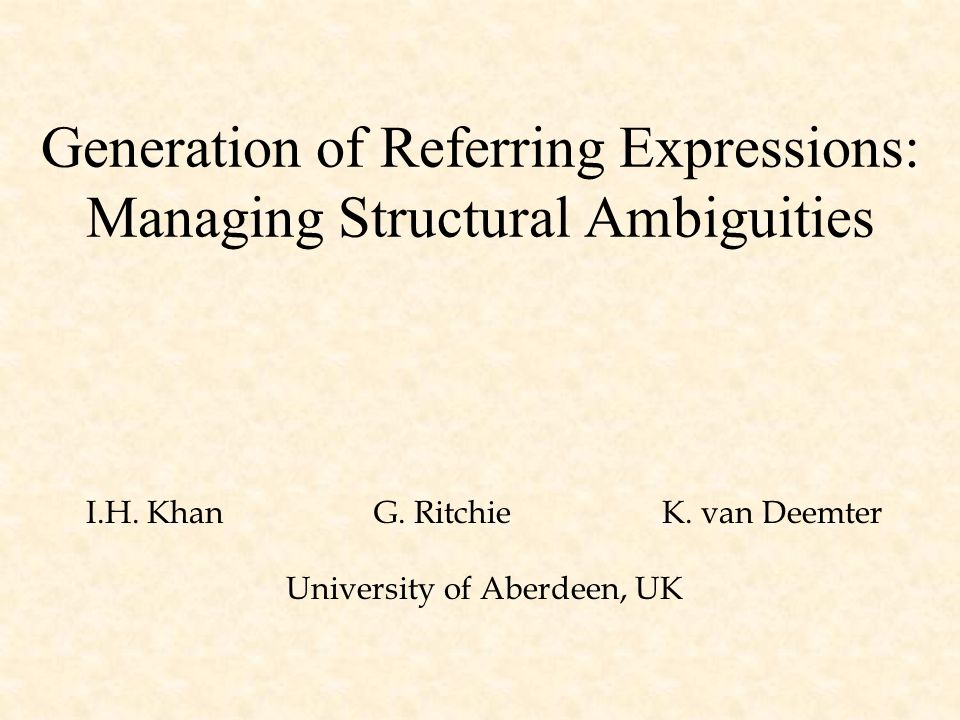 Generation of Referring Expressions: Managing Structural Ambiguities I.H.
