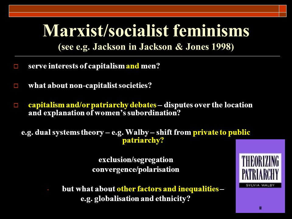 Marxist/socialist feminisms (see e.g. Jackson in Jackson & Jones 1998) serve interests of capitalism and men? what about non-capitalist societies? cap