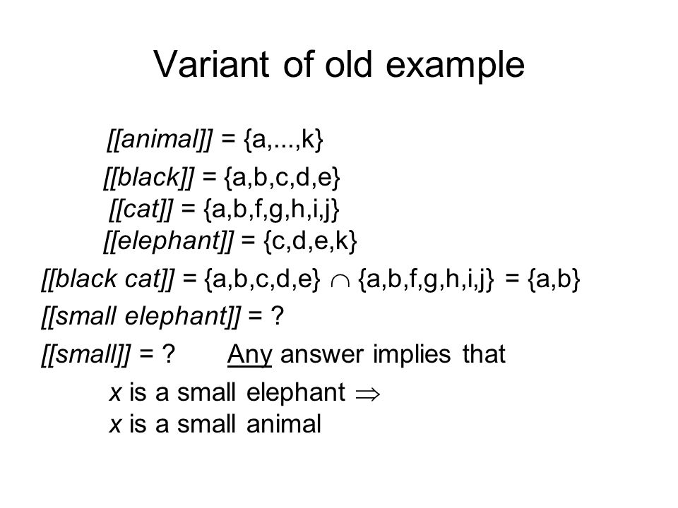 Variant of old example [[animal]] = {a,...,k} [[black]] = {a,b,c,d,e} [[cat]] = {a,b,f,g,h,i,j} [[elephant]] = {c,d,e,k} [[black cat]] = {a,b,c,d,e} {a,b,f,g,h,i,j} = {a,b} [[small elephant]] = .