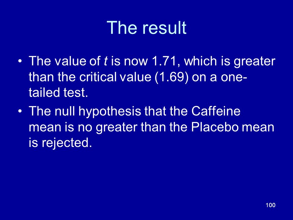 100 The result The value of t is now 1.71, which is greater than the critical value (1.69) on a one- tailed test. The null hypothesis that the Caffein