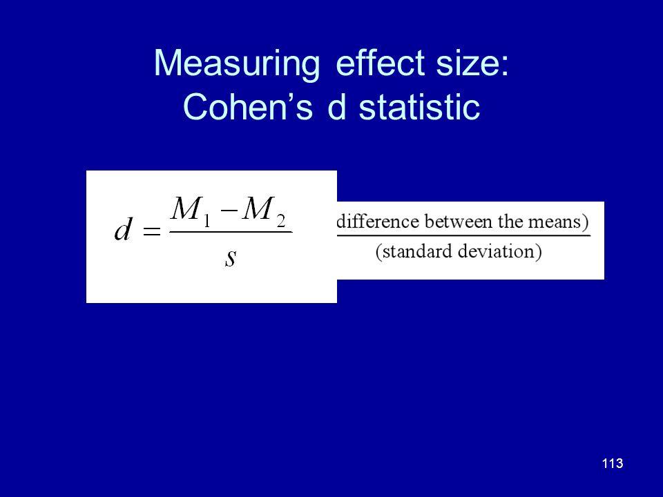113 Measuring effect size: Cohens d statistic