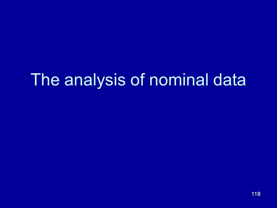 119 The analysis of nominal data