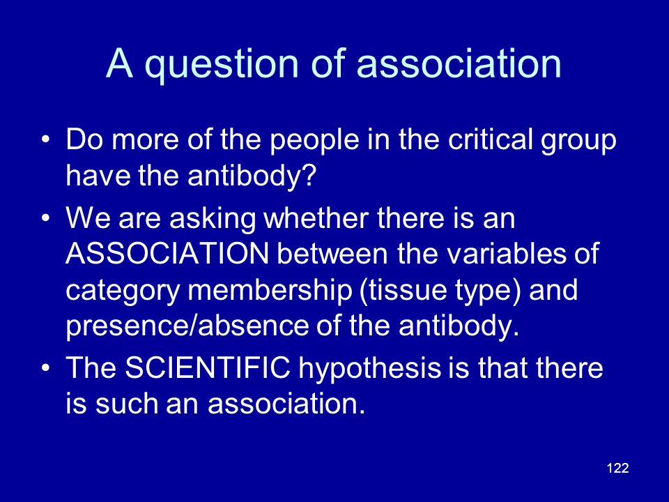 122 A question of association Do more of the people in the critical group have the antibody? We are asking whether there is an ASSOCIATION between the