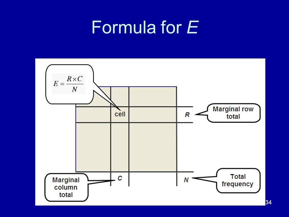 134 Formula for E
