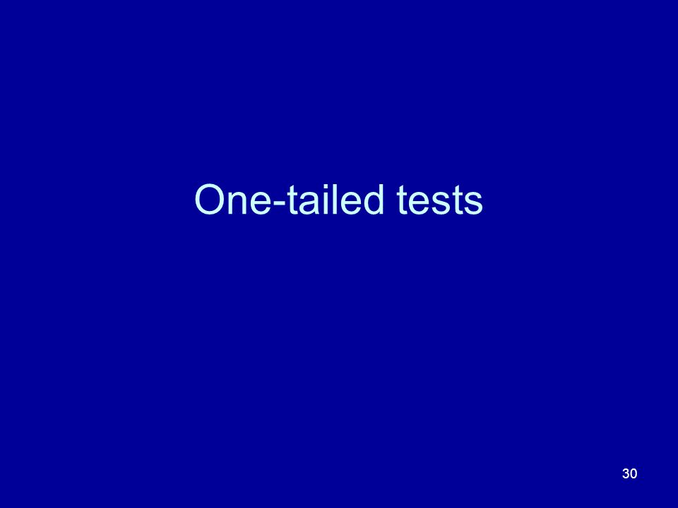 30 One-tailed tests