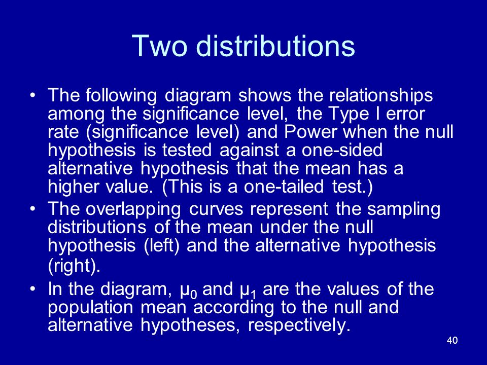 40 Two distributions The following diagram shows the relationships among the significance level, the Type I error rate (significance level) and Power
