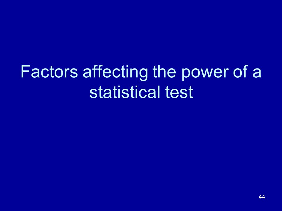 44 Factors affecting the power of a statistical test
