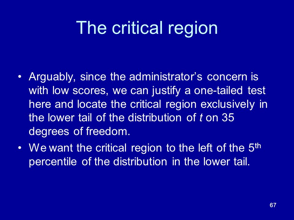67 The critical region Arguably, since the administrators concern is with low scores, we can justify a one-tailed test here and locate the critical re