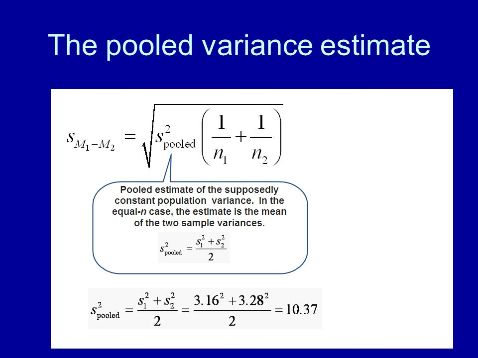 84 The pooled variance estimate