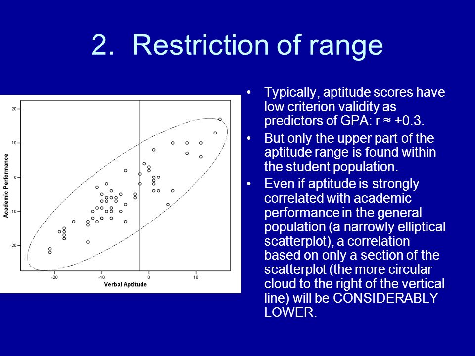 2. Restriction of range Typically, aptitude scores have low criterion validity as predictors of GPA: r +0.3. But only the upper part of the aptitude r