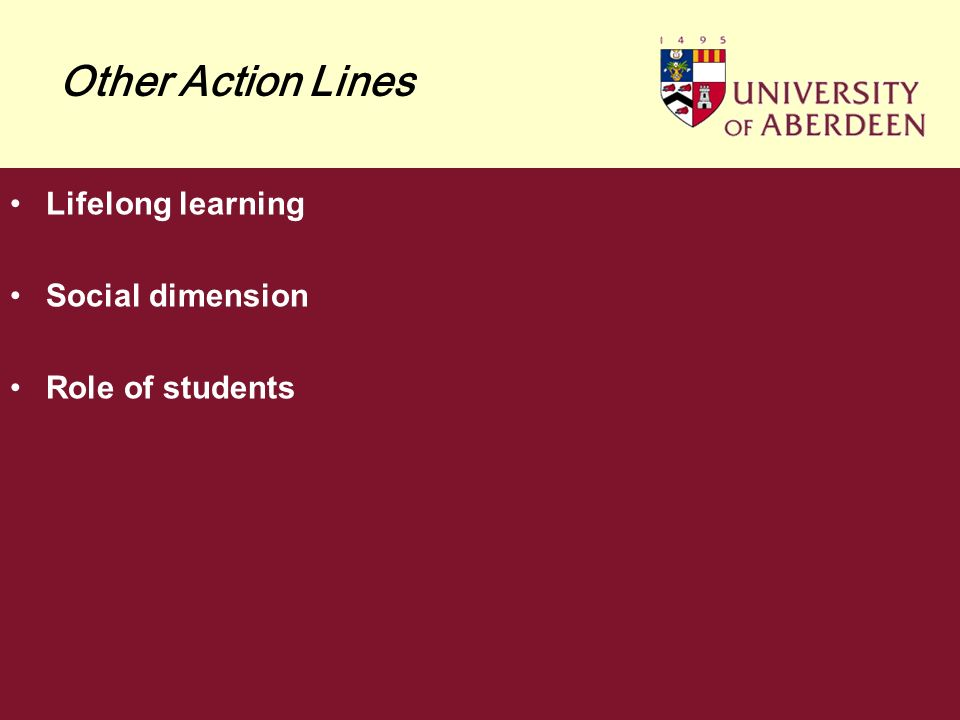 Other Action Lines Lifelong learning Social dimension Role of students
