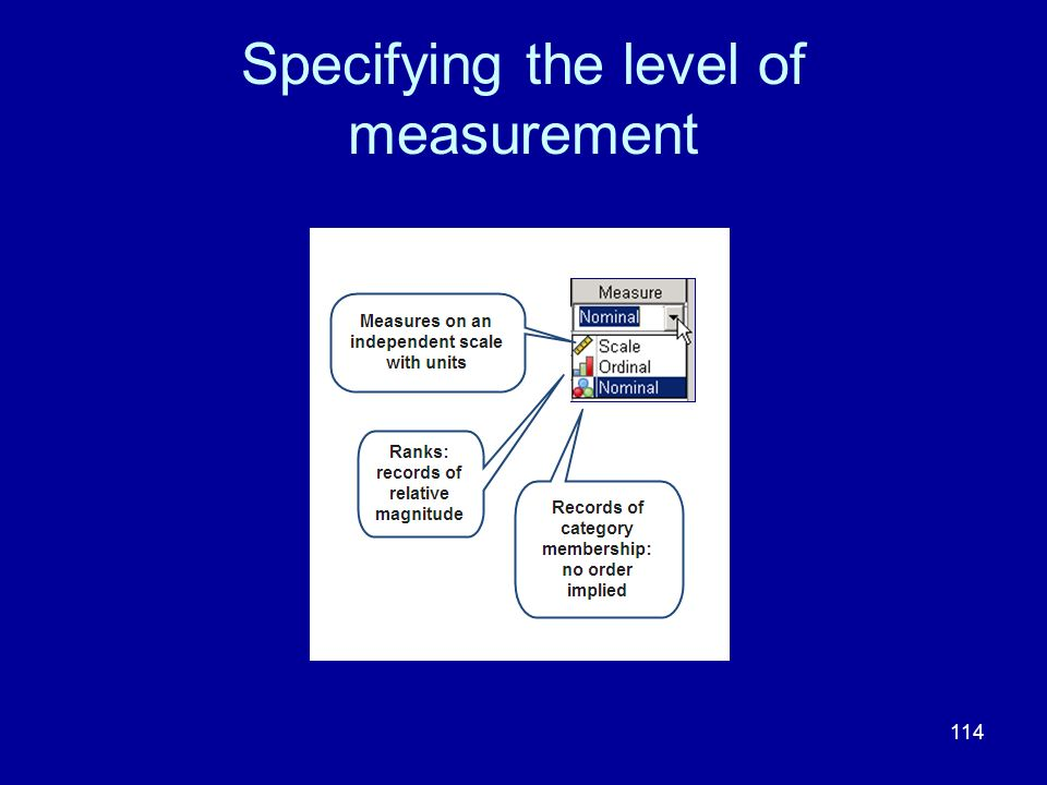 114 Specifying the level of measurement